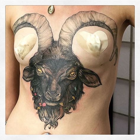 Goat Head Tattoo!   Thistle and Pearl Tattoo - Asheville, NC