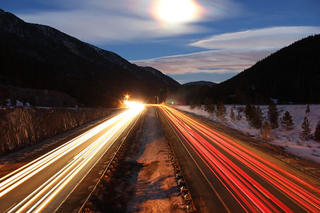 cars driving on interstate-70 in colorado