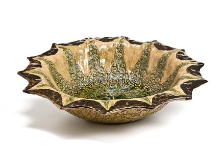 Green Glaze Serving Bowl
