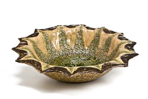Green Glaze Serving Bowl