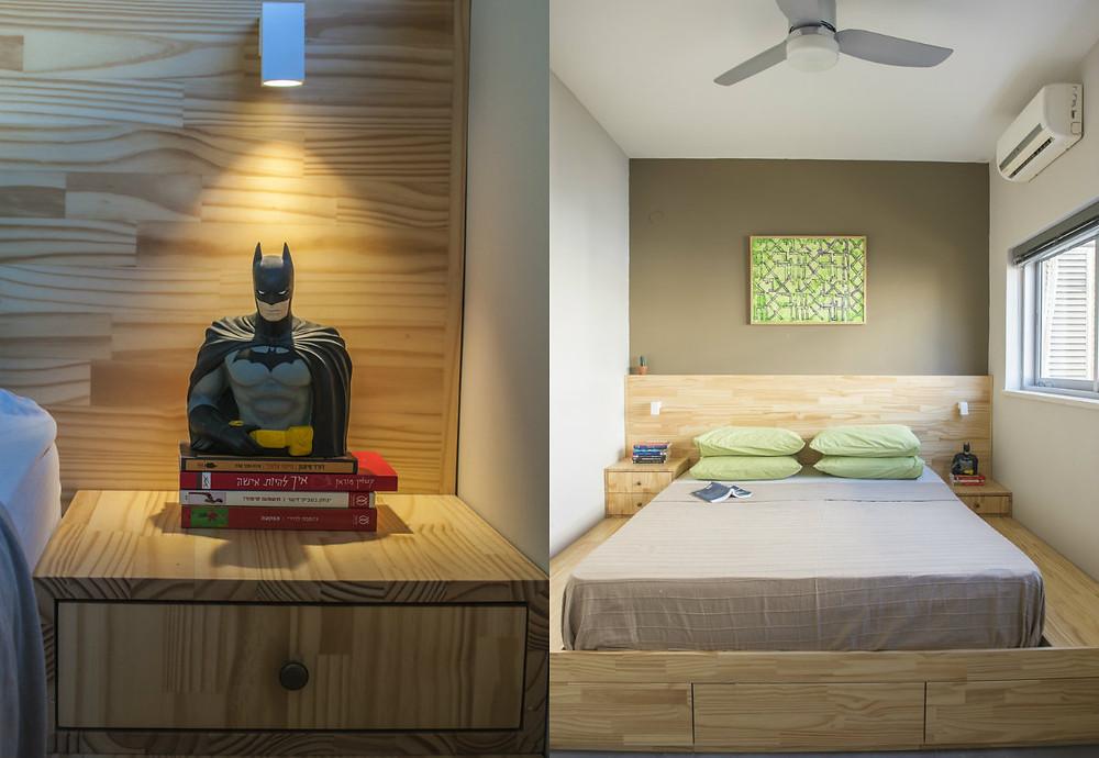 חדר שינה בדירה משופצת בתל-אביב