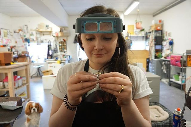 Here I am at my work bench working away on some jewellery creations.
