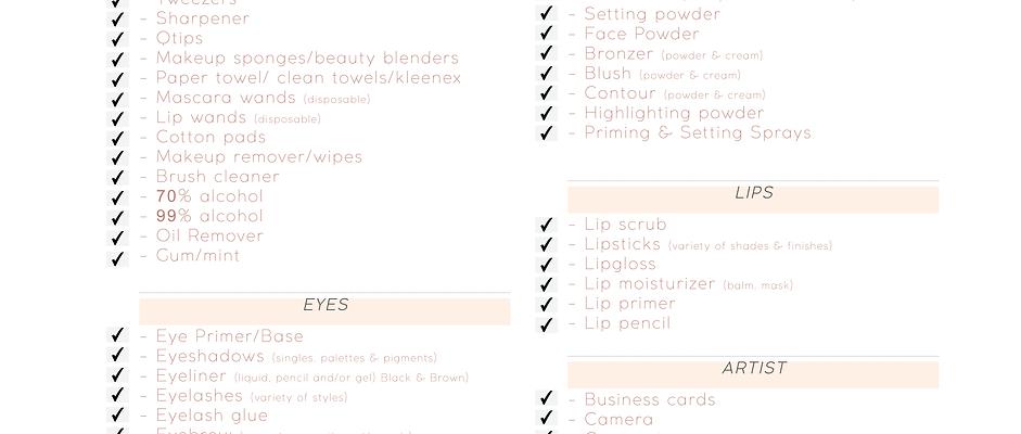 MUA Packing Checklist