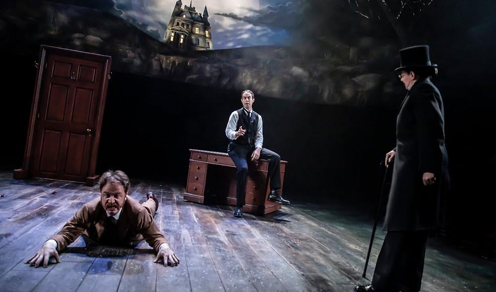 The Hound of the Baskervilles at the Octagon Theatre Bolton (l-r): Simon Kane, Reuben Johnson, Polly Lister. All pics: Pamela Raith