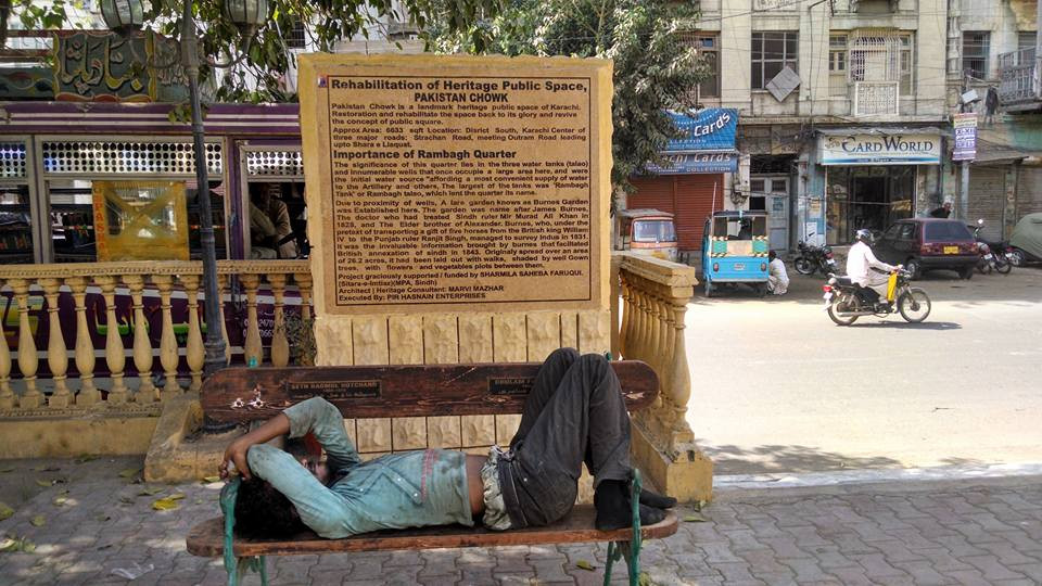 KARACHI: The space around the monument had been remodeled with new benches, lamp posts and trees. Now laborers take afternoon naps on the benches of Pakistan Chowk.