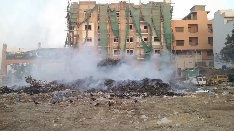 KARACHI: Wireless Gate is the main entrance of Rafah-e-Aam Society. People use this road on a daily basis for commuting. The route is occupied with piles of garbage which makes it difficult for commuters, and also poses as a health hazard.