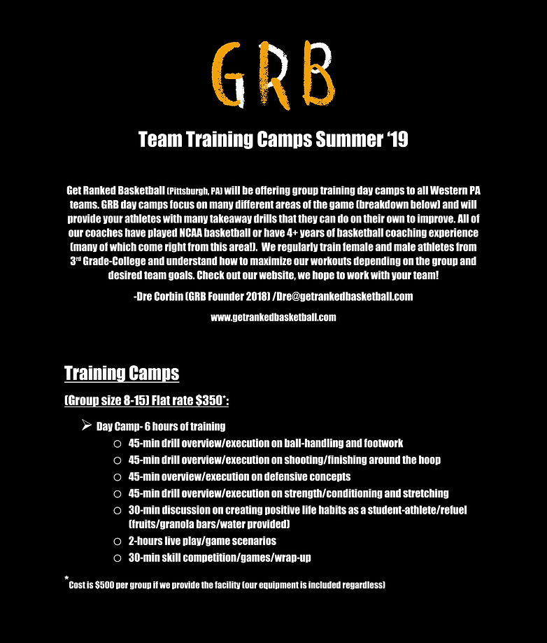 GET RANKED BASKETBALL Team Training Camp
