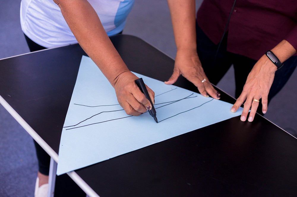 Mulher fazendo uma linha em uma cartolina em forma de triângulo que mostra a Pirâmide Invertida.