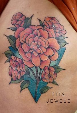 Triangle Flowers tattoo by Tita Jewels