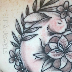 Sleeping Bunny tattoo by Tita Jewels CLOSEUP