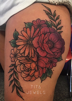 Ombre Flower tattoo by Tita Jewels