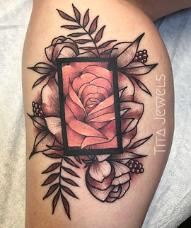 Rose in Rectangle tattoo by Tita Jewels