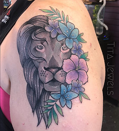 Lion Flower tattoo by Tita Jewels