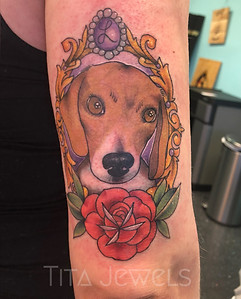 Dog Portrait in Frame tattoo by Tita Jewels