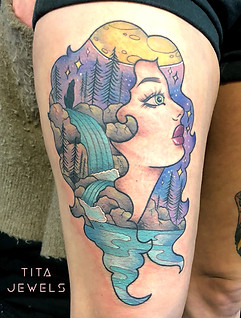 Girl Head Scene tattoo by Tita Jewels