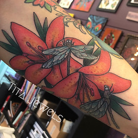 Dragonfly and Lilies tattoo by Tita Jewels