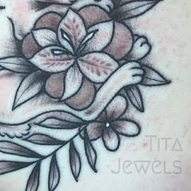 Sleeping Bunny CLOSEUP tattoo by Tita Jewels