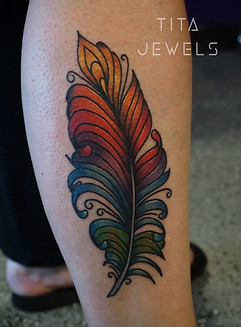 Rainbow Feather tattoo by Tita Jewels