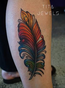 Rainbow Feather tattoo by Tita Jewels