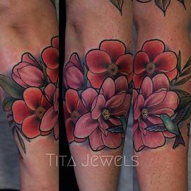 Magnolia and Hummingbird tattoo by Tita Jewels
