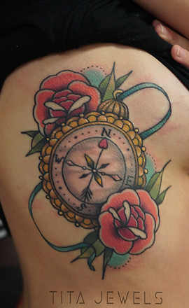 Compass and Roses tattoo by Tita Jewels