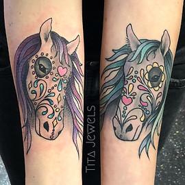 Sugar Skull Horse Head Tattoos by Tita Jewels