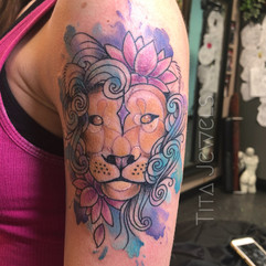 Watercolor Lion and Lotus Tattoo by Tita Jewels