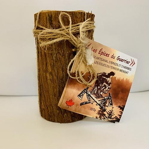 Bûche en bois contenant les Épices du Guerrier