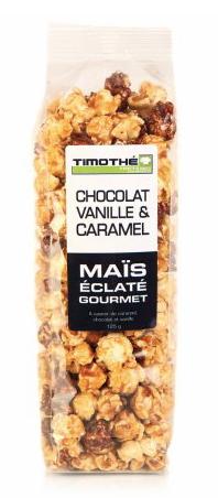 Maïs éclaté chocolat, vanille et caramel Timothé