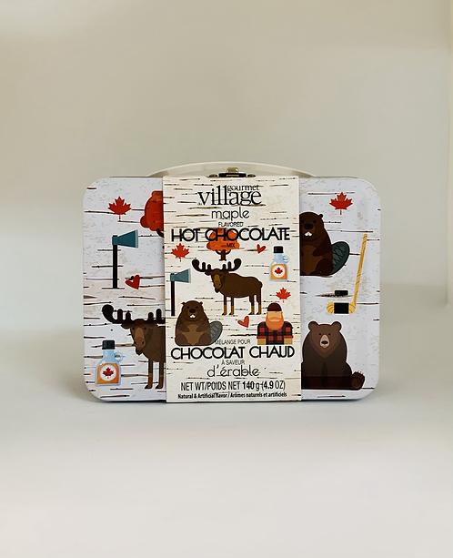 Boîte à lunch métallique et mélange à chocolat chaud à saveur d'érable