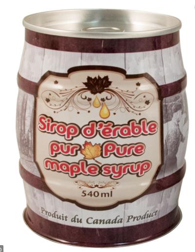 Canne de sirop d'érable pur 540 ml
