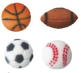 Décorations sports en sucre