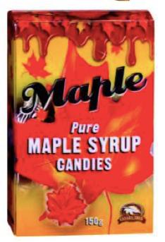 Bonbons au sirop d'érable en forme de feuille d'érable Canada True