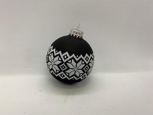Ornement de Noël boule noire et blanche