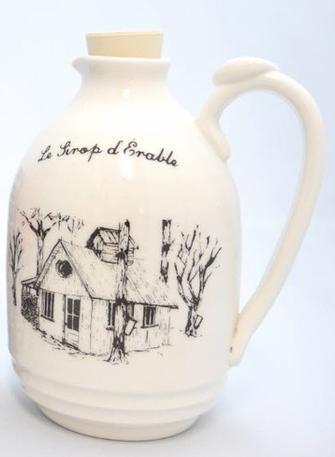 Pichet pour sirop d'érable en porcelaine Poterie Weilbrenner et Lebeau