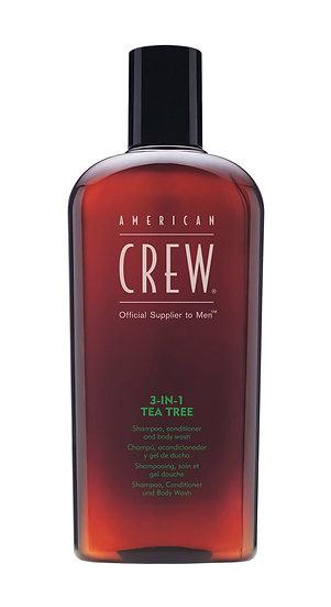 American Crew 3-en-1 Tea Tree Shampooing, revitalisant et gel douche