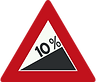Warning - 10% incline ahead, UK road sign