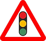 Warning - traffic lights ahead, UK road sign