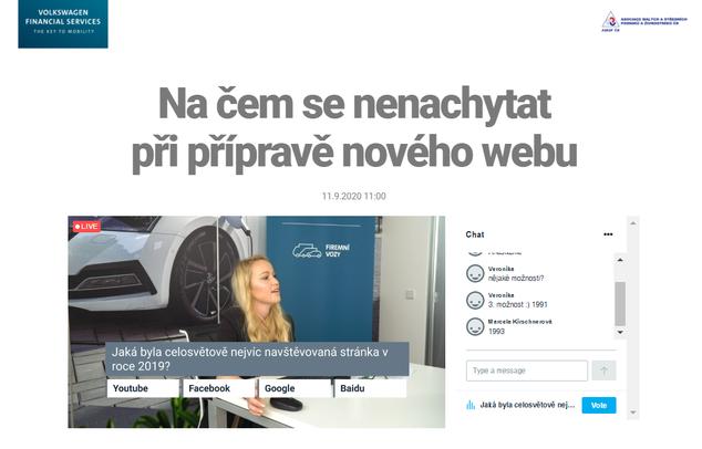 Vysíláme pro vás webináře (Webinář s VWFS 2020)