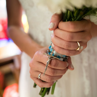 Mary's grandma from Iowa gave her this family heirloom rosary shortly before she passed away in January, 2016. Mary wanted to carry it with her bouquet. Something old and something blue. A special remembrance.