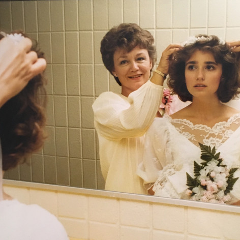 My mom helping me with my veil ~ 1987