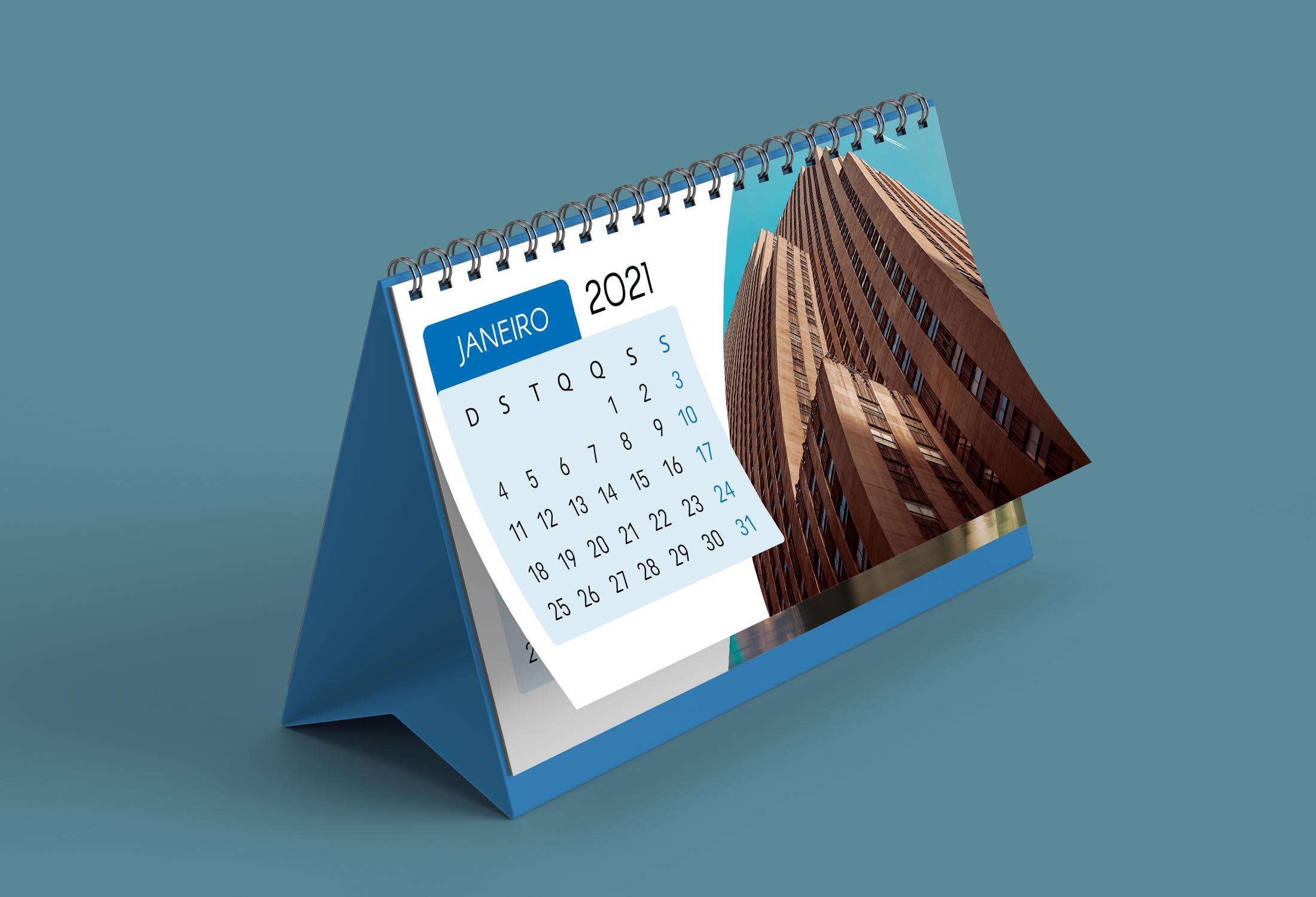 Calendário de mesa horizontal