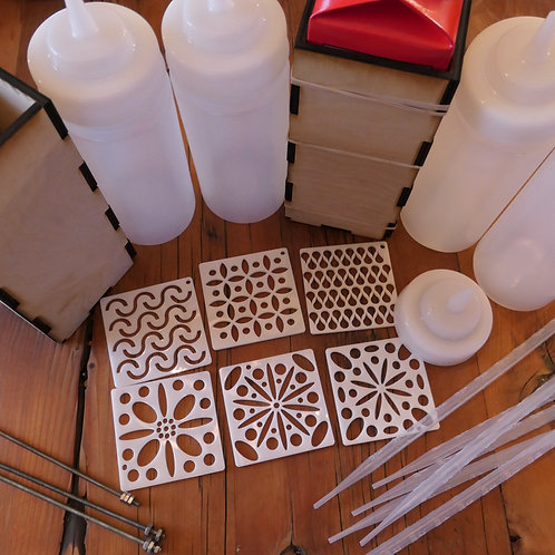 Pull Through Soap Kit - Extensions, Squeeze bottles, 6 Discs,  Rods, Holders