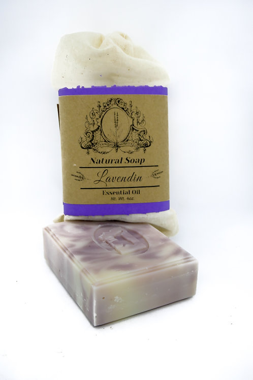 Lavandin Essential oil Natural Soap 4oz. Gromwell Root