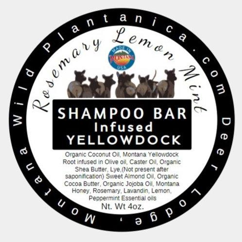 Natural Shampoo Shampoo bar Vegan Rosemary Mint Lemon Infused in Yellowdock 4oz.