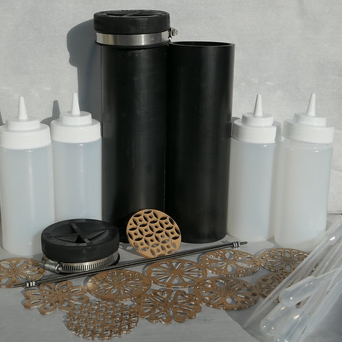 Pull Through Soap Kit Molds, Extensions, Squeeze bottle, side mounting discs