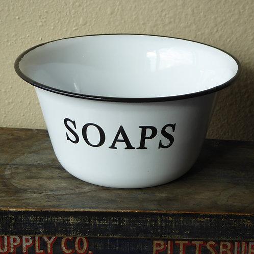 "Enamelware Soaps Bowl.  It is 3"" high x 6"" in diameter and has black, distressed"
