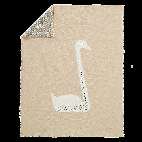 Knitted Blanket - Swan Peach