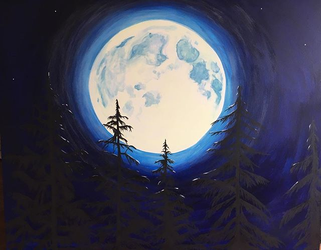 Glow in the dark moon painting with tree