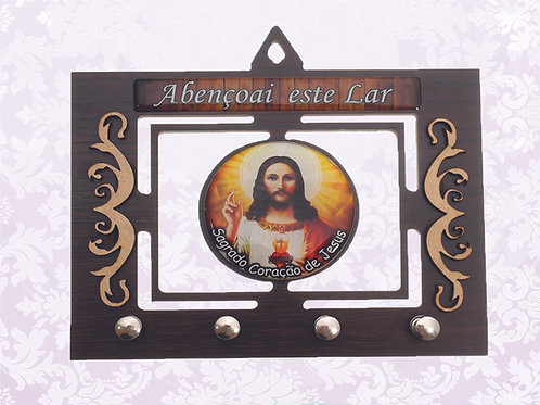 Porta Chaves Sagrado Coração Jesus (04 pinos)